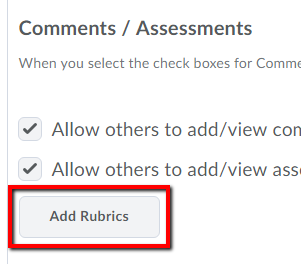 add rubrics button identified
