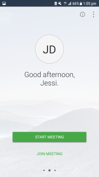 Home screen of WebEx Meetings after signing on