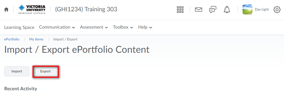 Export tab in eportfolio