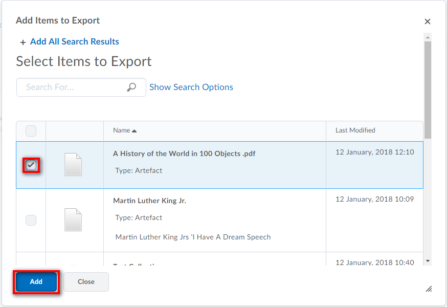Adding exported items - ePortfolio