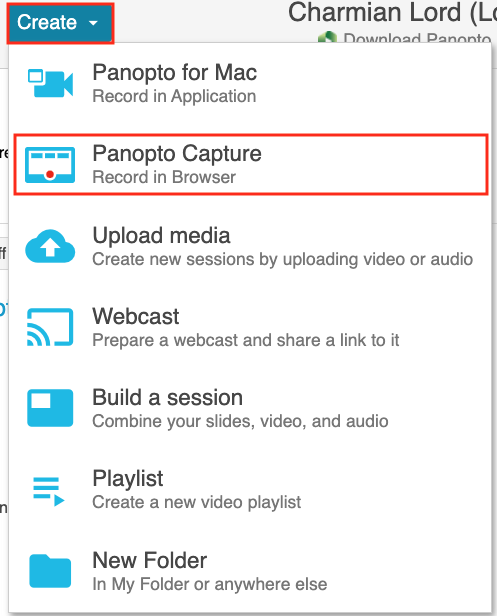 Panopto Create options