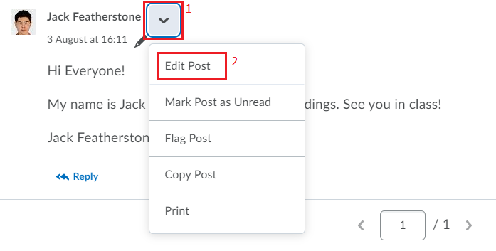 Posting and Replying to Messages Editing a Post Step 1 IMAGE