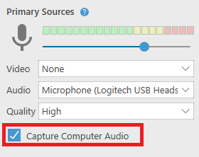 Audio only with Capture Computer Audio