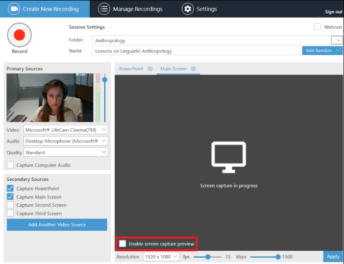 Enable screen capture preview