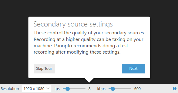 Secondary source settings