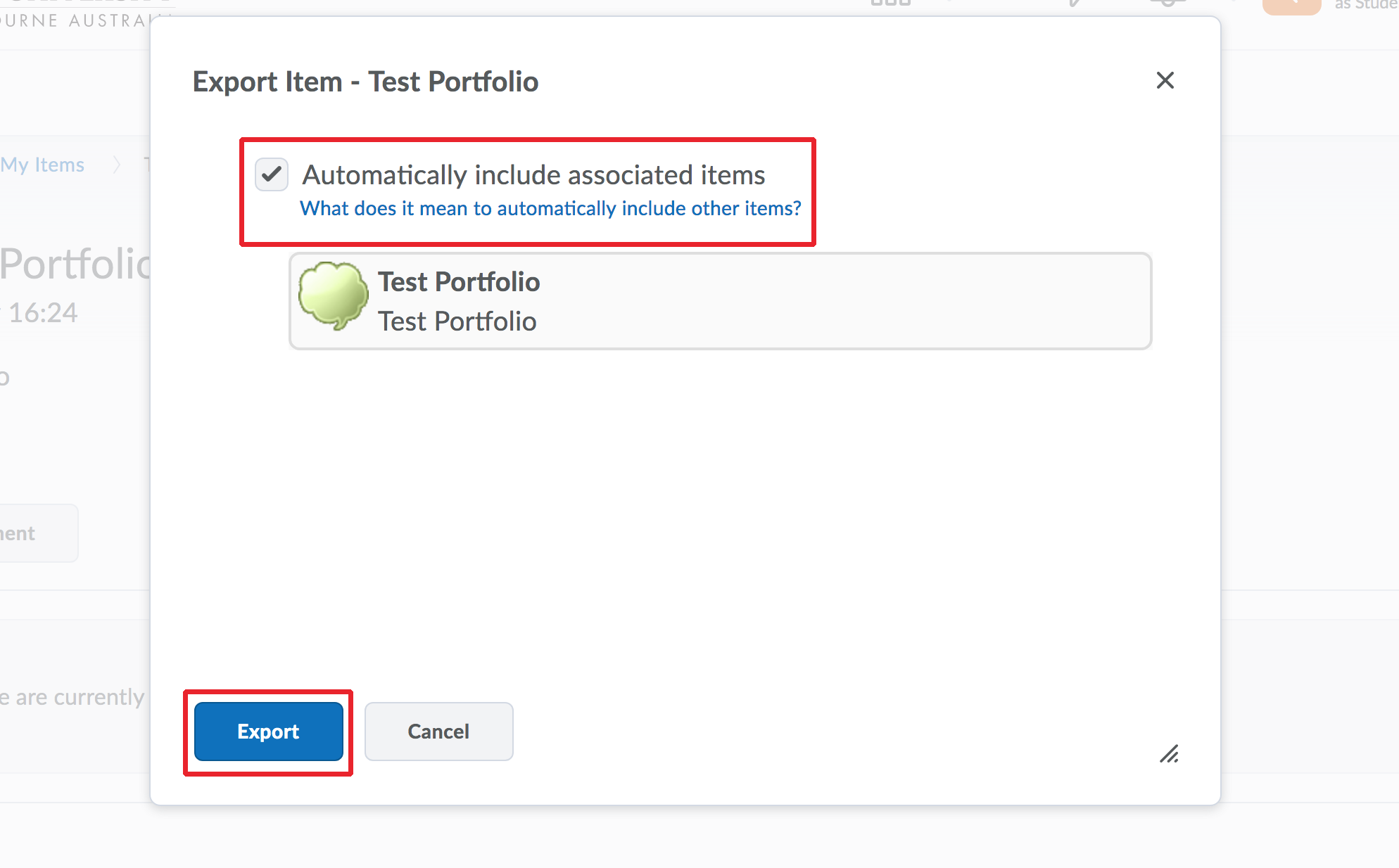 Export Items to ePortfolio