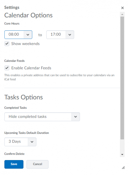 Settings menu with core hours options andtask options