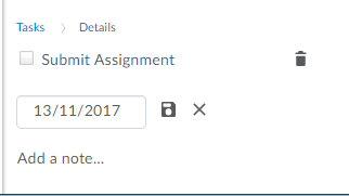 Task details with date, delete icon