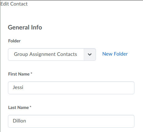 editing fields for existing contact information