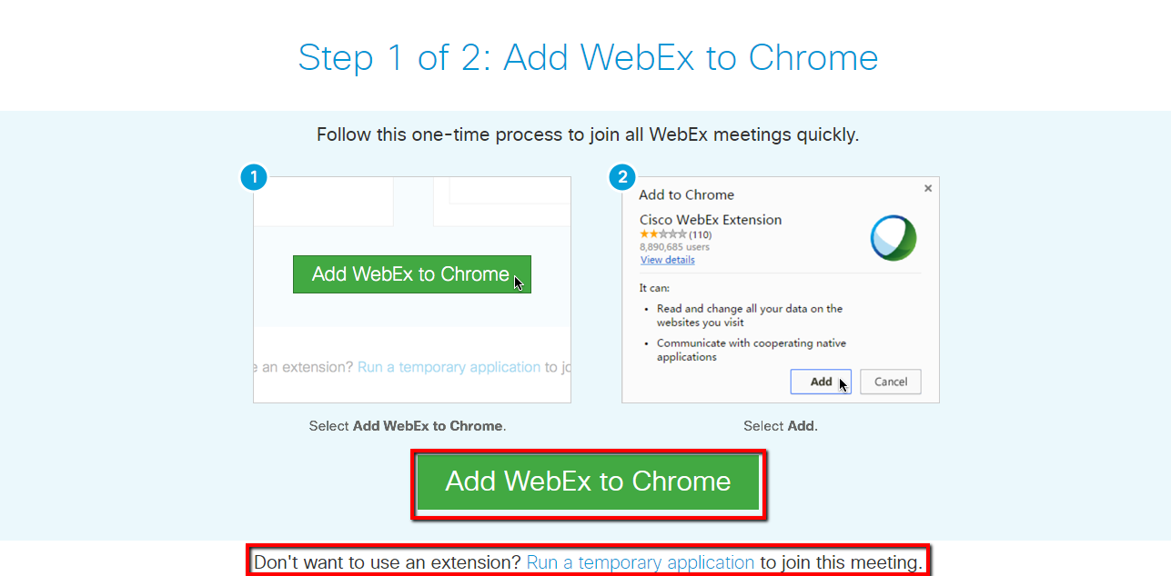 add webex to chrome