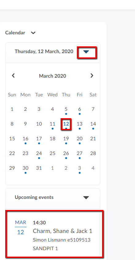 Zoom Calander Dropdown